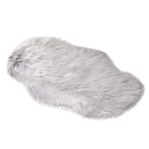 Huihong Spitzenqualität Lammfellimitat Teppich, 30 x 30 cm Lammfellimitat Teppich Longhair Fell Nachahmung Wolle Bettvorleger Sofa Matte (60 x 90 cm, Grau)