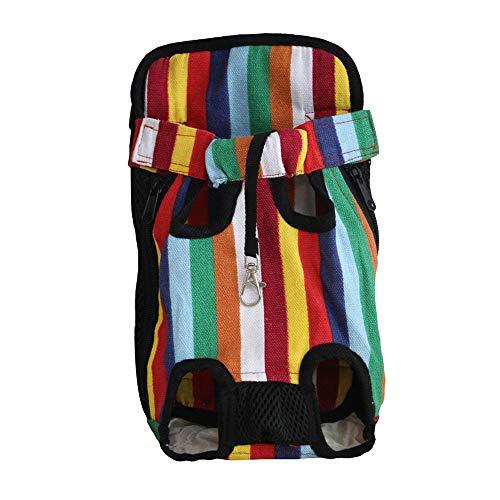 nobrand Haustier Rucksack Hochwertige Mode Streifen Haustier Rucksack Einfarbig Hund Rucksack Haustier Tasche Vordertasche Haustier Rucksack Rucksack-S/M/L/XL S Regenbogenstreifen