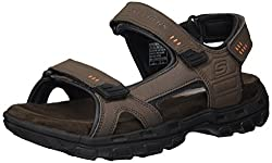 top 10 skechers beach sandals Skechers GARVER-Ruden Fisherman Men's Sandals, Brown, US Width 13