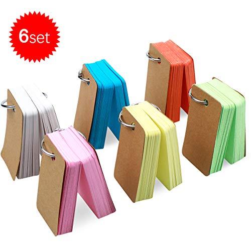 Natuce 498 Blätter Karteikarten, 6 Pack Lernkarte 4 x 7 cm, Papierkartenm, Pocket Karteikarten, Mini Notizblöcke für unterwegs mit dem Ring,Mehrfarbig Karte Kraftpapier einfach,Vokabeln Lernen Karten