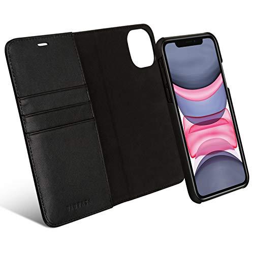 KANVASA iPhone 11 Flip Hülle Ledertasche 2 in 1 Lederhülle Schwarz Luxus Echtleder Cover Leder Tasche für Original iPhone 11 (6,1 Zoll) - Kabelloses Laden Qi mit Hülle möglich