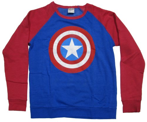 Hybrid Marvel Captain America Shield Logo Mens Pullover Sweatshirt | M