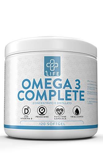 5 Stelle IFOS Come Enerzona Omega 3 RX  PIULIFE OMEGA 3 COMPLETE Con Vitamina D  120 Soft Gel  1600mg EPA 800mg DHA per Dose  Olio di Pesce Puro per Controllo Colesterolo e Trigliceridi