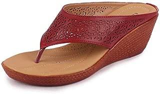 BATA Women's PU Wedges Slippers