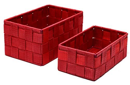 Lashuma Badezimmer Körbchen 2er Geschenkset, Rote Aufbewahrungskörbe, Korb Größen: 19 x 10 x 7 cm und 20 x 13 x 10 cm