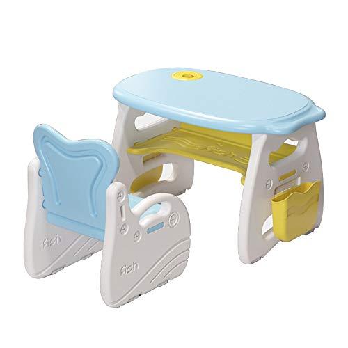 Juego de mesa y silla para niños, mesa y silla de estudio multifuncional para niños, con caja de almacenamiento + alfombra antideslizante, para niños de 3 a 8 años, leyendo, comiendo, jugando, es