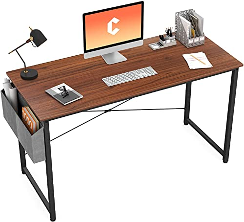 Cubiker Computer Desk 47 inch Home Office Writing Study Desk, Modern Simple Style Laptop Table with Storage Bag, Walnut