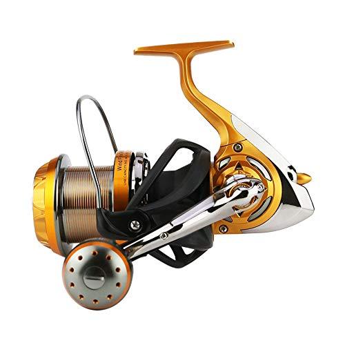 ZDAMN Carrete de Pesca Spinning Pesca Carretes Izquierda/Derecha Intercambiable for Agua Salada o Agua Dulce WF4000-9000 para Exterior (Color : Gold Black, Size : 6000)