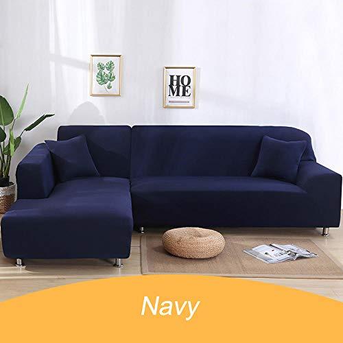 Bankhoezen Polyester Elastic,Hoes effen kleur hoekbank, 1 2 3 4-zits dierenhoes - 7-Navy_4-seater_235-310cm