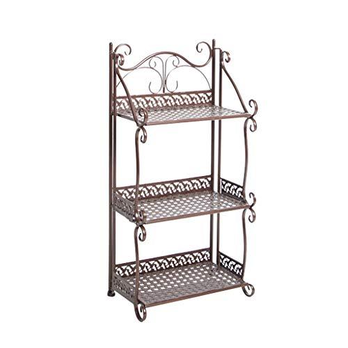 Stands trapeziumbak met 3 lagen, voor binnen en buiten, voor balkon, van ijzer, opbergruimte voor kruiwagen, standhouder, afmetingen: 33 x 20 x 64 cm, rekken