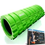 Foam Roller - Rodillo de espuma para masaje muscular (Libro de ejercicios incluido) diseño de rejilla para accionar la terapia de puntos para el dolor de espalda y los músculos de las piernas - 33 x 14 cm