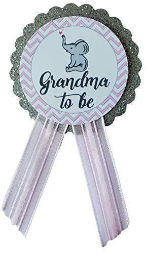 Grandma to Be Pin Elephant Baby Shower Pin for nona to wear, Pink & Gray, It