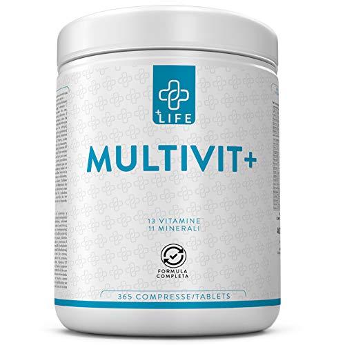 Piulife Multivit+ ● 365 Compresse con 24 Vitamine e Minerali Essenziali Formato Famiglia ● Multivitaminico e Multiminerale Bilanciato per il Benessere Generale