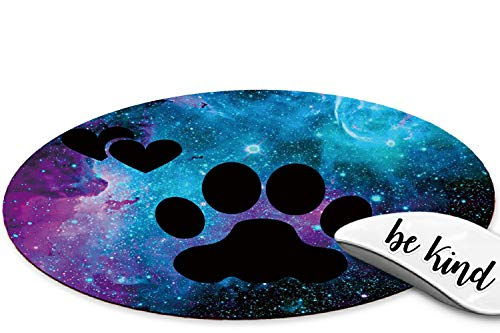 Rossy Mouse Pad,Dog Paws in Nebula Galaxy Pattem Design Gaming Mousepad,Customized Mouse Pads for Laptop, Computers & Office,Round Mouse Mat with Cute be Kind Stickers