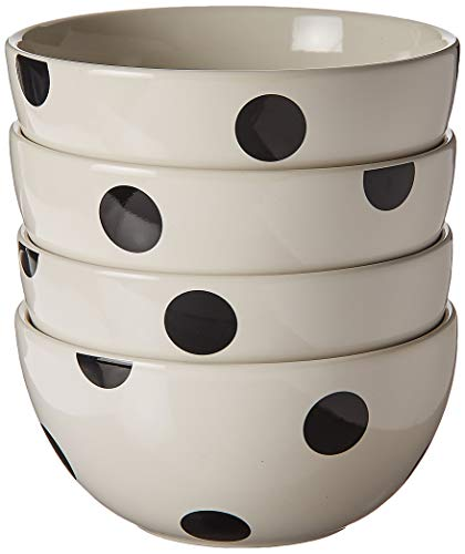 Kate Spade Deco Dot Soup Bowl, 1.05 LB, White 4 Piece