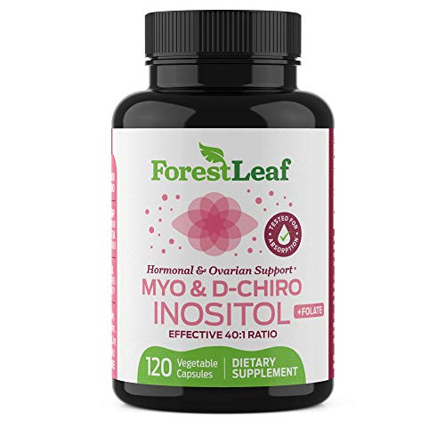 Myo and D-Chiro Inositol Supplement Blend with Folate - Hormone Balance, Ovulation and Ovarian Support for Women - Hair Growth, Weight Management, Fertility and Pregnancy Health (120)