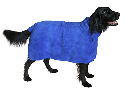 THE SNUGGLY DOG Easy Wear Dog Towel. Luxuriously Soft, Fast Drying 400gsm Microfiber. Soft Belt Included for a Warm Plush Dog Robe Large Blue