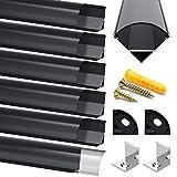 Profilo in Alluminio Nero, Jirvyuk 6 Pack 1m/3.3ft Profilo LED V-Shape per per Striscia a ...