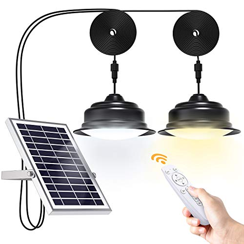UPONUN Solar Lights Indoor Outdoor Home Dual Head Solar Pendant Light with Smart Remote Control Dual Color Switchable Brightness & Timing Adjustable Solar Ceiling Light for Shed Barn Yard Patio Porch