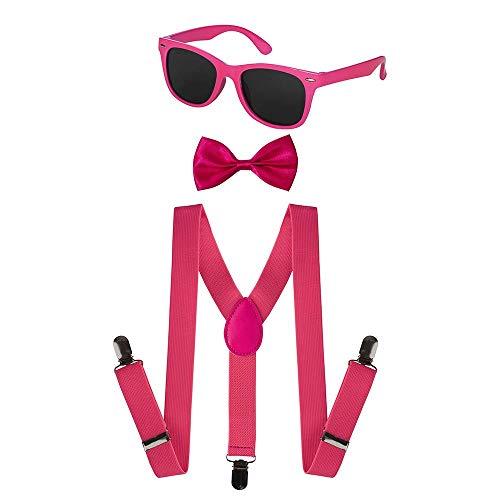 Dress Up America Unisex Kinder Neon-Strapshalter, Fliegenfänger-Zubehör (Pink) Fliege, 3/6/2020