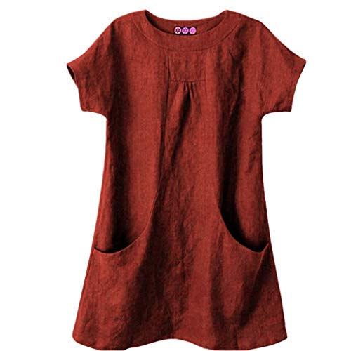 LOPILY Damen Basic Oberteil aus Leinen Einfarbige Lose T-Shirt mit Taschen Long Shirt für Damen Lässiges Luftiges Oberteil für Freizeit Urlaub Bekleidung Kurzarm Tunika Übergröße (Rot, DE-42/CN-XL)