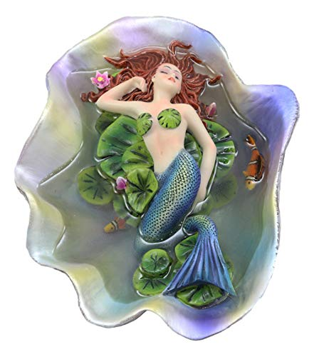 """Price comparison product image Ebros Sheila Wolk Elan Vital Sculpture Red Haired Ariel Mermaid Sleeping On Water Lilies with Koi Fishes in A Giant Clam Shell Pond Figurine Fantasy Mermaids Pirates Sirens Decor Statue 6.75"""" Long"""