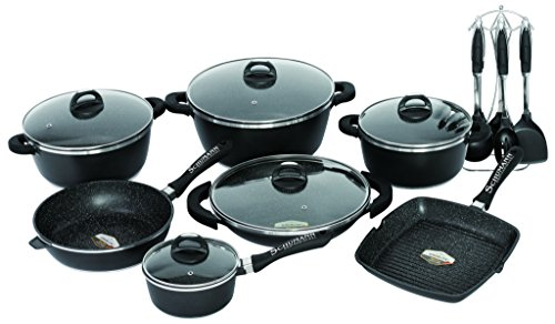 Schumann Professionnel SBA2202700 Black Rock Lot de 27 Pièces Batteries de Cuisine Revêtement/Fonte d'Aluminium Noir