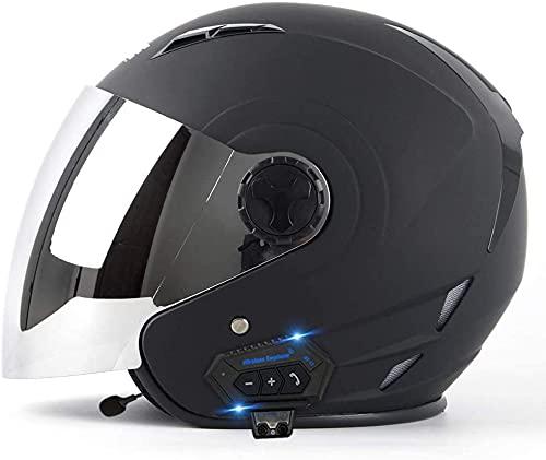OOMEI Casco Moto Abierto Bluetooth Casco Moto Jet ECE Homologado,para Casco De Moto Ciclomotor Casco Scooter Cascos Half-Helmet,con Micrófono Incorporado Respuesta Automática (Color : B, Size : M)