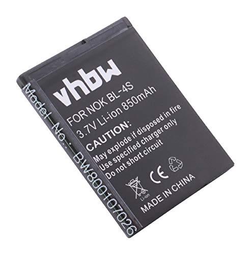 vhbw Li-Ion batería 850mAh (3.7V) para Smartphone teléfono teléfono móvil Nokia 2680, 2680 Slide, 2680S, 3600, 3600 Slide, 3600S, 3710 Fold por BL-4S