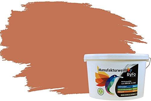 RyFo Colors Bunte Wandfarbe Manufakturweiß Terracotta 10l - weitere Orange Farbtöne und Größen erhältlich, Deckkraft Klasse 1, Nassabrieb Klasse 1