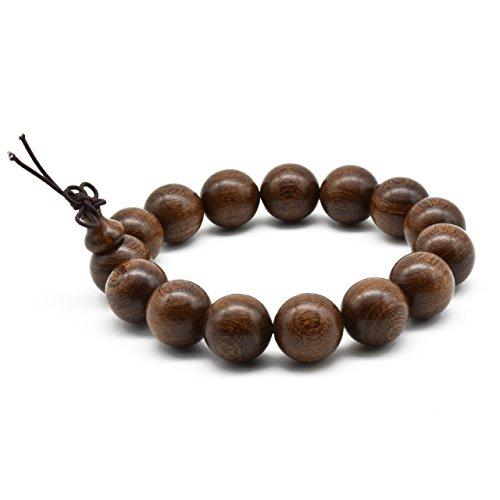Zen Dear Unisex Natural Silkwood Tibetan Buddhism Meditation Prayer Bead Necklace Japa Mala Beads Bracelets (15mm x 15 Beads)