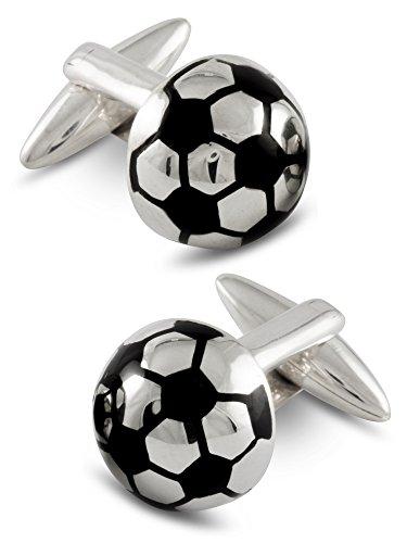 Boutons de manchette homme, Ballon de football, Argent 925, Faits mains