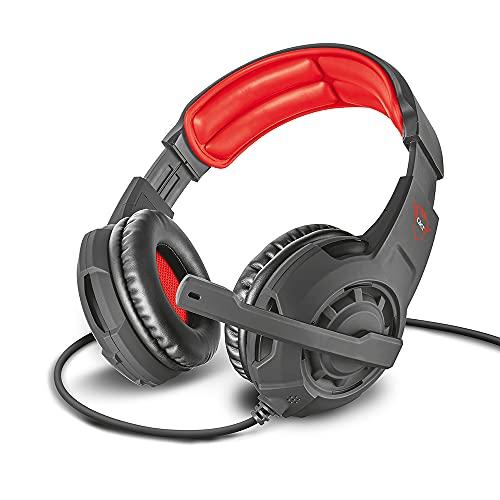 Trust Cuffie Gaming GXT 310 Radius con Microfono e Archetto Regolabili, 3.5 mm Jack, Filo, Over Ear, PC, PS4, PS5, Xbox Series X, Xbox One, Switch, Nero/Rosso