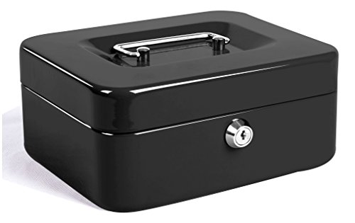 Jssmst Locking Medium Steel Cash Box with Money Tray,Lock Box,Black
