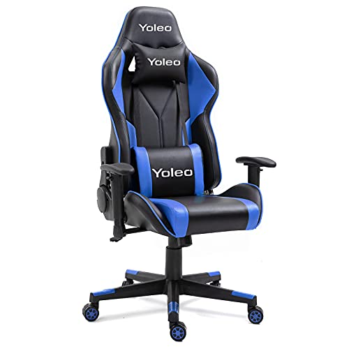 Dripex Gaming Chair Ergonomic Office Chair Adjustable Swivel Leather Racing Computer Desk Chair with Lumbar Support and Headrest for Adult and Kid (Blue, without footrest)