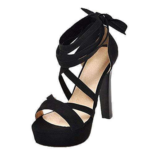 MISSUIT Damen High Heels Plateau Sandalen mit Schnürung und Blockabsatz Sommer Hohe Sandaletten 12cm Absatz Schuhe(Schwarz,39)