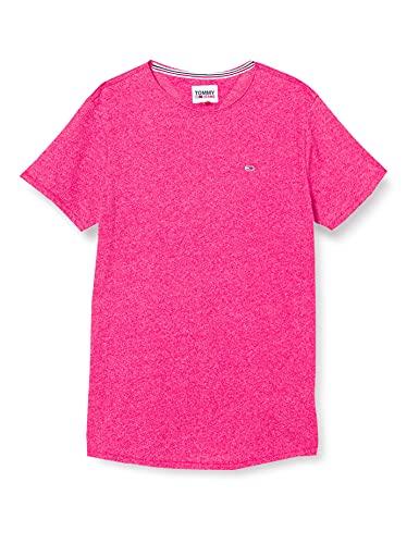 Tommy Jeans TJM Slim Jaspe C Neck Camiseta, Brillante Cerise Rosa Htr, M para Hombre