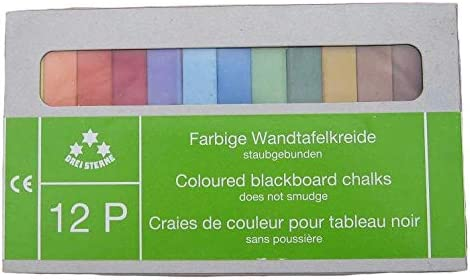 Drei Sterne 12P Square Blackboard Chalks: 12 Sticks (Assorted)
