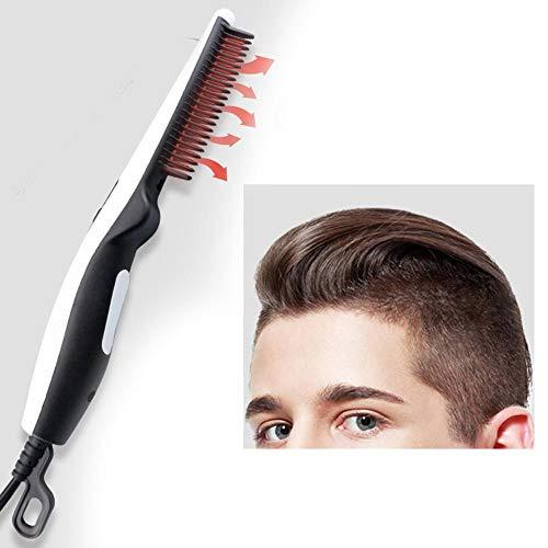 Cepillo para alisar el cabello iónico, cepillo para alisar el cabello de calentamiento rápido de cerámica con función anti escaldaduras Peine alisador eléctrico sedoso sin frizz portátil