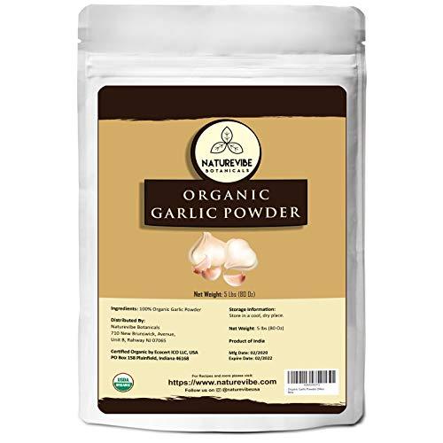 Naturevibe Botanicals Organic Garlic Ground Powder, 5lbs | Raw, Gluten-Free & Non-GMO | Healthy Spice | Adds Flavor and Taste (80 ounces)