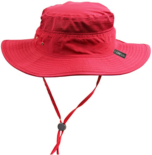 CAMO COLL Outdoor UPF 50+ Boonie Hat Summer Sun Caps (One Size, Red)