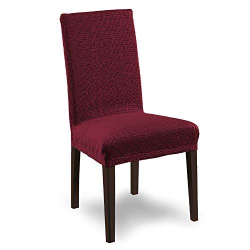 SCHEFFLER-Home Stretch Stuhlhusse Tunez / 6er Set elastische Stuhlabdeckungen in feinem Raff-Look / Stuhlhussen Schwingstühle / Spannbezug mit Gummiband / Elegante Stuhlbezüge