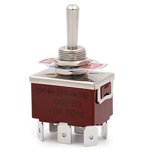 Heschen Interrupteur à bascule métallique DPDT momentané (ON)/OFF/(ON) 3 positions 15 A 250 VAC 6 bornes CE