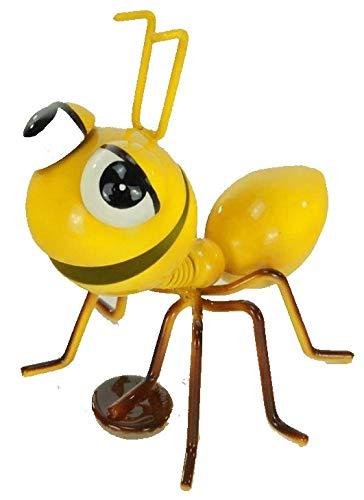 Dekofigur Metall Ameisen mit Magnetfuß , Gartenfigur , Metallfigur , Blechfigur , 7cm x 7.5cm x 8.5cm (Gelb)