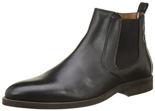 Tommy Hilfiger Herren Essential Leather Chelsea Boots, Schwarz (Black), 41 EU