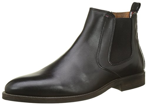 Tommy Hilfiger Herren Essential Leather Chelsea Boots, Schwarz (Black), 44 EU