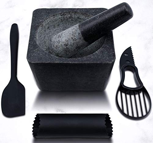 Large Mortar and Pestle Set with Garlic Peeler, Avocado Slicer and Spatula – Authentic Granite Stone Mexican Mortar and Pestle – Ideal for Grinding Spices and Herbs