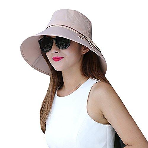 Sun Summer Hat Wide Brim for Women Foldable UPF 50+ Kaimao Beach Cap 56-58cm - Khaki