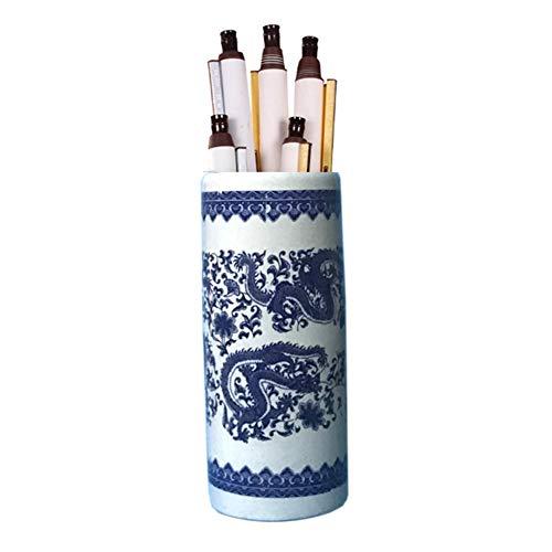 HH- Porta ombrelli Portaombrelli Secchio per Ombrelli in Ceramica per Casa/Ufficio/Ingresso, Portaombrelli in Porcellana Bianca E Blu per Bastoncini da Passeggio