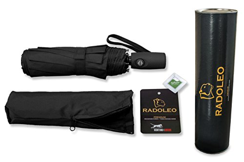 RADOLEO® Schwarzer Taschenschirm in Hochwertiger Geschenkbox | Premium Auf-Zu-Automatik | Teflonbeschichtung | inkl. Tasche mit Reißverschluss